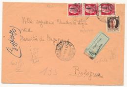 1944 RSI RACCOMANDATA ESPRESSO DA SOLDATO AD UNIVERSITA' 3X 0,75 FASCETTO + 0,30 FASCETTO ACQUI X BOLOGNA - Marcophilia