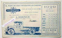 "Buvard ""Camion Intrnational, Jules Buyck, Rue Des Soeurs Grises, Mons 1929"" - Collections"