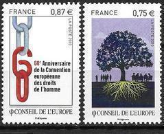 France 2010 Service N° 146/147 Neufs Conseil De L'Europe à La Faciale - Mint/Hinged