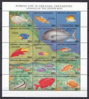 H953 GRENADA FISH & MARINE LIFE ANIMALS OF THE DEEPER REEF 1SH MNH - Vita Acquatica