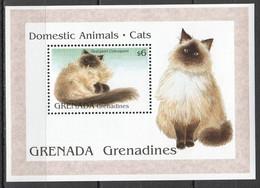 H863 GRENADA GRENADINES FAUNA PETS DOMESTIC ANIMALS CATS 1BL MNH - Domestic Cats