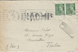 1941- Enveloppe  De Paris IX Affr. à 1 F. Envoyée à Toulon  - INADMIS Et Retour - Guerra Del 1939-45