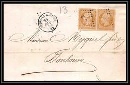 1184 Lettre (cover) Ferroviaire N°13A PC 676 Cnon-la-Bastide TTB Convoyeur Pour Toulouse 1857 Napoléon 3 - 1849-1876: Periodo Classico