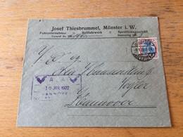 K20 Deutsches Reich 1922 Brief Von Münster Nach Hannover - Covers & Documents