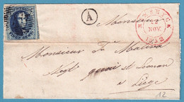 L St. Affr 20c Bleu Margé P77 MAESEYCK/1852 + Boîte Rurale A Pour Liège - 1851-1857 Medallions (6/8)