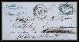 8931 LAC Entete Epicerie Charrin 1874 N 60B Type 2 Ceres 25c GC 3581 St-Etienne Tournus Saone Et Loire Lettre - 1849-1876: Periodo Classico