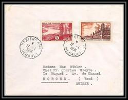 9828 N°1036 Bordeaux 1042 Brouage Beziers Herault 1956 Pour Morges Suisse Swiss France Lettre Cover - 1921-1960: Période Moderne
