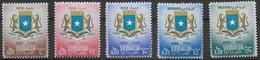 SOMALIA AFIS - 1957 - STEMMA NAZIONALE - SERIE 5 VALORI PO+PA- NUOVA MH*/MNH** ( YVERT 249\51+AV 63\4 - MICHEL 326\330) - Somalia (AFIS)