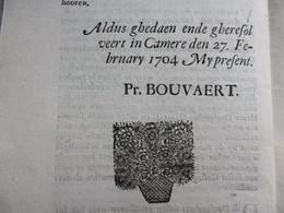 Decreet Veiling Ontvangerijen In Brugse Vrije. Gedrukt; Joos Vandermeulen Hoek Markt, 27 Februari 1704 Pr. Bouvaert - Decreti & Leggi