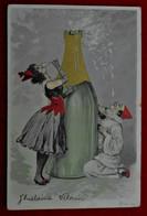 CPA Pierrot, Colombine - Bouteille De Champagne - Otros
