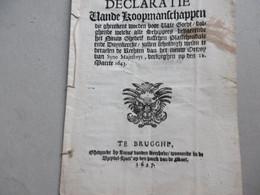 Decreet, Octrooi. Schippers Varende Op Nieuw Gedelt Tussen Plassendale En Duinkerke Dunkerque 22 Maart 1643 Druk BRUGGE - Decreti & Leggi