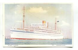 MV Somersetshire, Bibby Passenger Liner - England To Asia Service - Old Advertising Postcard - Passagiersschepen