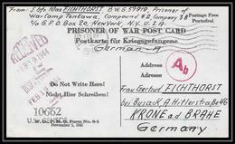 6909/ Lettre (cover Briefe) Usa Allemagne Germany Prisoner Of War Prisonniers De Guerre 1939/1945 Censuré Censor 10662 - WW II