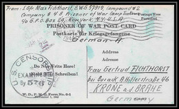 6910/ Lettre (cover Briefe) Usa Allemagne Germany Prisoner Of War Prisonniers De Guerre 1939/1945 Censuré Censor 576 - WW II