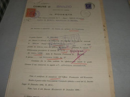 DOCUMENTO COMUNE DI BRINZO CON MARCA MUNICIPALE - Documenti Storici