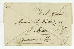 51 Mesley SABLE Pour Mende 1834 LAS Duval Maire De Bazouges - 1801-1848: Precursors XIX