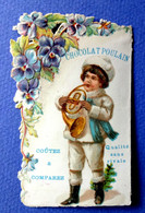 CHOCOLAT POULAIN.......CHROMO GAUFRE DECOUPE...NOEL....PETIT MUSICIEN...JOUEUR DE COR - Poulain
