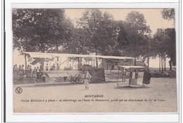 MONTARGIS : Biplan Militaire A 2 Place, En Atterissage Au Champ De Manoeuvres - Tres Bon Etat - Montargis
