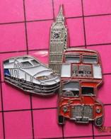 SP10 Pin's Pins / Beau Et Rare / THEME : TRANSPORTS / Grand Pin's AUTOBUS URBAIN ANGLAIS ROUGE + TGV + BIG BEN - Transportation