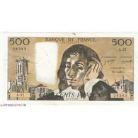 500 Francs PASCAL 08-01-1970  Fayette 71.5 - 500 F 1968-1993 ''Pascal''
