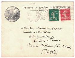 ENTETE ILLUSTRATION INSTITUT DE PALÉONTOLOGIE HUMAINE FONDATION ALBERT 1er Sr LETTRE De PARIS AFFRANCHIE SEMEUSE 159 194 - 1921-1960: Modern Period