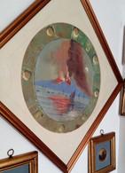 Dipinto Tempera Popolare Su Carta Napoli: Eruzione Notturna Vesuvio 1880 Ca. (D173) Come Da Foto Diametro 45,0 Cm - Estampas