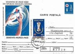 Roumanie - Entier Croix Rouge 1 Lei Complément Affranchissement 55 B - Yvert 3347 Donneurs Sang Don Appareil Transfusion - Lettere