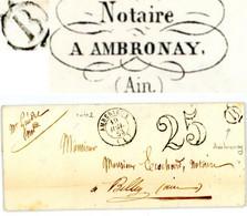 AIN LAC 1853 AMBERIEUX T15 TAXE 25 + BOITE RURALE B=AMBRONAY ( (AMBRONAY AURA SON BUREAU DE POSTE EN 01/1863) - 1849-1876: Classic Period