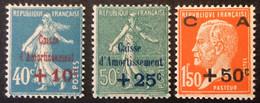 246 247 248  Serie Semeuse Et Pasteur Surchargée CA Caisse Amortissement Neuf * - Ongebruikt