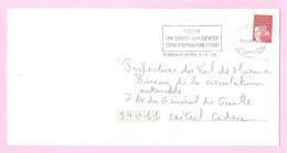 LUQUET - LA POSTE 1997 - Y&T N° 3085 - TVP Rouge Adh.Type II. Variété Barres PHO. Sur Lettre Prioritaire.TB. - 1997-04 Marianne Van De 14de Juli