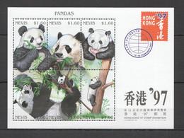 H988 1997 NEVIS FAUNA WILD ANIMALS PANDAS HONG KONG EXPO KB MNH - Osos
