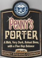 DERBY BREWING COMPANY  (DERBY, ENGLAND) - PENNY'S PORTER - CURVED PUMP CLIP FRONT - Letreros