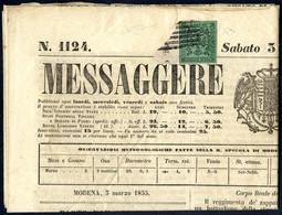 """Cover 1855, Giornale """"Messaggero Di Modena"""" Del 3.3. Affrancato Con 5 C. Verde, Certificato Enzo Diena, Sass. 1 / 6000,- - Modena"""