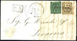Cover 1855, Lettera Del 16.12.1855 Da Carrara A Livorno, Affrancata Con 5 C. Verde E 10 C. Rosa Chiaro, Entrambi Senza P - Modena