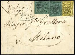 Cover 1858, Lettera Da Reggio Il 6.7. Per Milano Affrancata Per 25 C. Con Due Valori Da 5 C. Verde Con E Senza Punto Dop - Modena