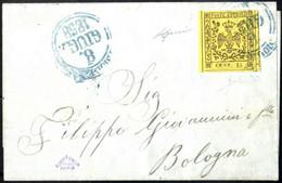 Cover 1858, Lettera Da Modena Il 8.6 Per Bologna Affrancata Con 15 C. Giallo Senza Punto Dopo La Cifra, Sass. 3 - Modena