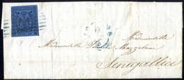 Cover 1855, Lettera Da Soliera Il 13.9 Per Senigallia, Bollo A 6 Sbarre In Azzurro Di Modena Su 40 C. Azzurro Scuro, Tag - Modena