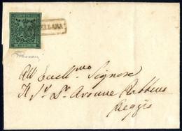 Cover 1856, Lettera Da Novellara Il 28.9 Per Bologna Affrancata Con 5 C. Verde Con Punto Dopo La Cifra, Bollo In Cartell - Modena