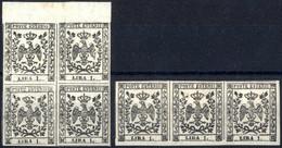 **/* 1852, 1 L. Bianco, Quartina Con Bordo Superiore Nuovo Con Gomma Originale Integra (linguella Sul Bordo Superiore),  - Modena