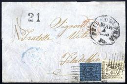 Cover 1860, Lettera Del 13.2 Da Carrara Per Philadelphia Affrancata Per 1,40 Lire Con 1 L. Bianco E 40 C. Azzurro Scuro, - Modena