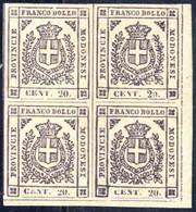 **/*/bof 1859, Governo Provvisorio 20 C. Violetto Scuro, Blocco Di Quattro, Angolo Di Foglio In Basso A Destra, Ottimi G - Modena