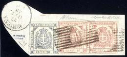 Piece 1859, Frammento Da Modena Il 27.10. Affrancato Con 20 C. Ardesia Violaceo Senza Punto Dopo 20 E Coppia Orizzontale - Modena