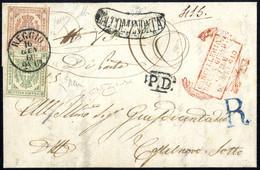 Cover 1860, Lettera Raccomandata Da Reggio Il 16.1. Per Castelnuovo Sotto, Affrancata Bicolore Per 45 C. Con 5 C. Verde  - Modena