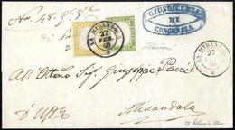 Cover 1860, Lettera Raccomandata Da Concordia Il 27.2. Per La Mirandola Affrancata Per 85 C. Con 5 C. Verde Oliva Chiaro - Modena