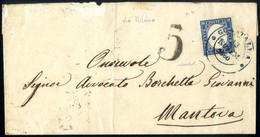 Cover 1860, Lettera Da Guastalla 13.11.1860 Via Milano Per Mantova Affrancata Con 20 Cent. Sardegna, Francobollo Annulla - Modena