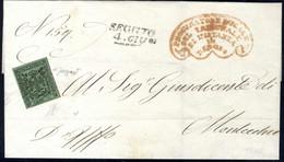 Cover 1853/59, Lotto Di Cinque Lettere Affrancate Con 5 C. Verde (Sass. 7) Da Reggio A Montecchio (4.6.1856) Con Cert. C - Modena