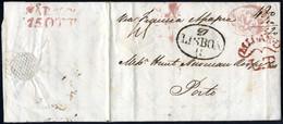 Cover 1822, Lettera Del 15.10.1822 Via Milano Per Porto, Pagata 45 Grana Fino Al Confine Francese E Tassata Per 520 Reis - Napels