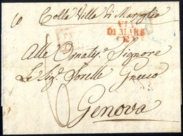"""Cover 1849, Lettera Da Napoli Il 17.1 Per Genova Con Bollo Rosso VIA / DI MARE / (E) (estera), Inoltrata Via Mare """"Colla - Napels"""