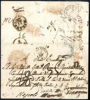 Cover 1854, Lettera Da Napoli Il 28.12 Per Venezia, Via Di Genova Con Bollo Rosso VIA / DI MARE / (E) (estera), Il Desti - Napels