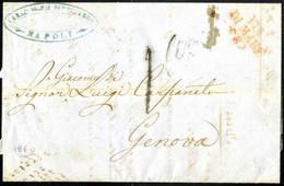 Cover 1860, Lettera Da Napoli Il 29.8 Per Genova Con Bollo Rosso VIA / DI MARE / (E) (estera) - Napels
